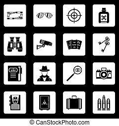 Spy tools icons set squares vector