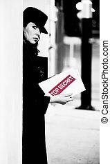Spy with Top Secret Document - Spy with top secret documents...