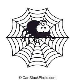 Spyder in cobweb arachnida animal halloween cartoon vector...