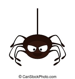 Spyder in cobweb arachnida animal halloween cartoon vector...