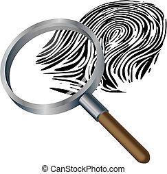 Spyglass and fingerprint - An illustration of a spyglass...
