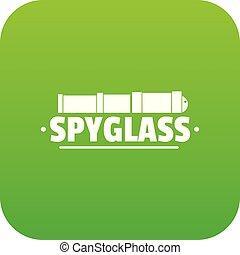 Spyglass icon green vector