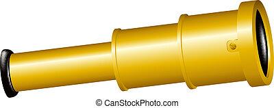 Spyglass in golden design on white background