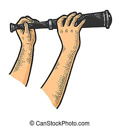 Spyglass monocular telescope in hands sketch engraving ...