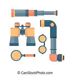 Spyglass telescope lens vector illustration. - Spyglass...