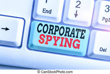spying., conceptuel, projection, concurrents, investigation, constitué, gain, advantage., texte, photo, affaires signent