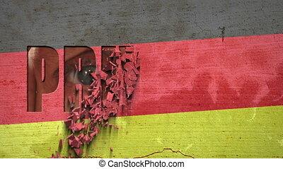Spying Eyes Crumbling Wall Germany - German flag painted on...