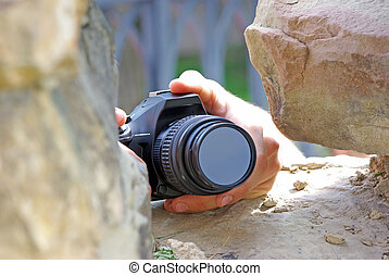 Spying with a digital camera.