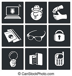 Spying vector icon collection on a black background