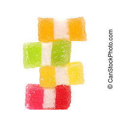 Spyral colorful jelly candies. Isolated on a white background.