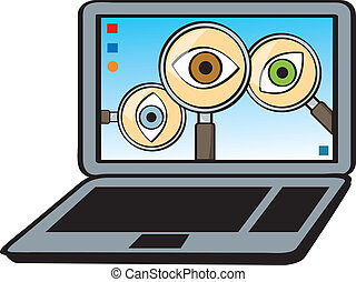 Spyware - A cartoon depiction of the concept of spyware.