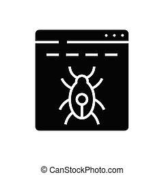 Spyware black icon, concept illustration, vector flat symbol, glyph sign.