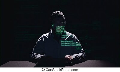 Spyware for hacking sites. Black background. Silhouette -...