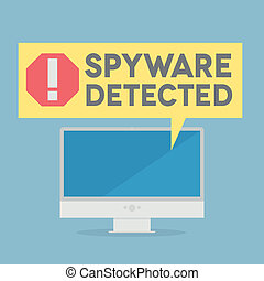 Spyware - minimalistic illustration of a monitor with a...
