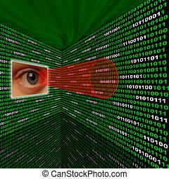 spyware, occhio, scansione, codice binario, con, rosso,...