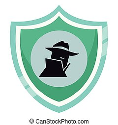 Spyware on shield emblem isolated vector illustration...