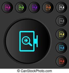 Spyware scanning dark push buttons with color icons