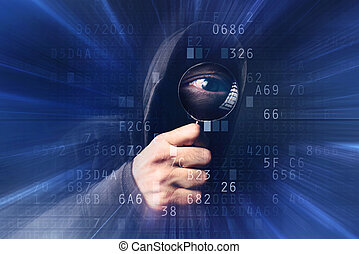 Spyware software, hooded hacker with magnifying glass analyzing computer code