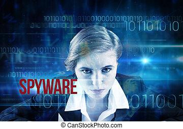 spyware, technologie, code, binaire, bleu, contre, conception