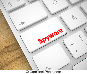 Spyware - Text on the White Keyboard Button. 3D.