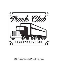 sqaure, プレート, ∥で∥, 爪, 重い, トラック, 会社, クラブ, ロゴ, 黒い、そして白い, デザイン, テンプレート