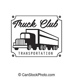 Sqaure Plate With Nails Heavy Trucks Company Club Logo Black And White Design Template