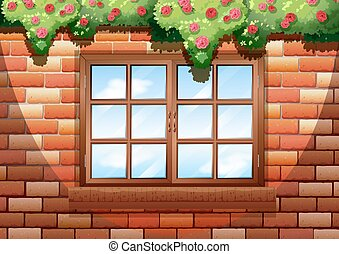 Sqaure window on brick wall
