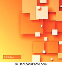 sqaures, élégant, clair, fond, orange, 3d