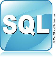 illustration of blue square icon for sql