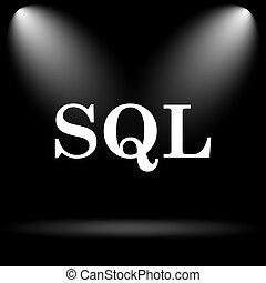 SQL icon. Internet button on black background.