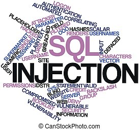 SQL injection - Abstract word cloud for SQL injection with...