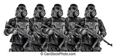 Squad of futuristic nazi soldiers iron line