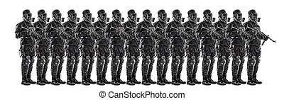 Squad of futuristic nazi soldiers