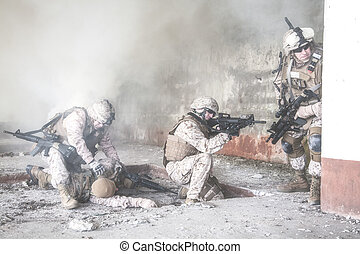 US marines in action - Squad of US marines in action in...