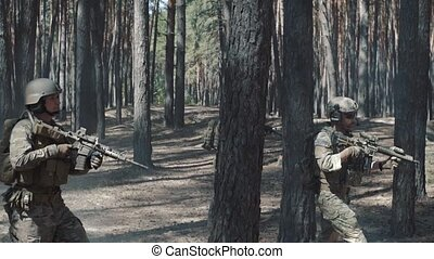 Squad Walking in Formation Through a Pines Forest.