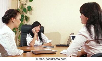 squadra affari, a, riunione