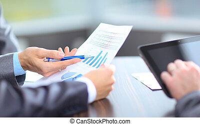 squadra affari, analizzare, ricerca mercato, risultati,...