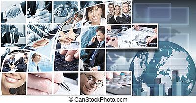 squadra affari, collage, fondo.