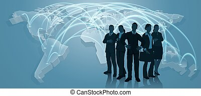 squadra affari, commercio mondiale, mappa, logistica, concetto