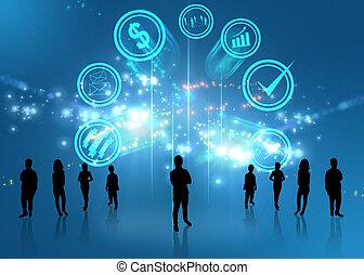 squadra affari, con, idee