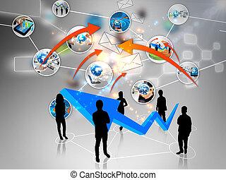 squadra affari, con, sociale, media