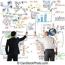 squadra affari, disegno, uno, nuovo, complesso, progetto