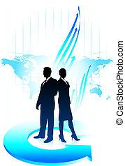 squadra affari, fondo, con, mappa mondo