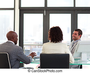 squadra affari, in, uno, riunione