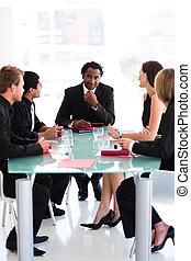 squadra affari, interagire, in, uno, riunione
