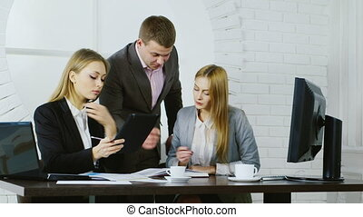 squadra affari, lavoro, su, il, fondo, di, il, finestra rotonda