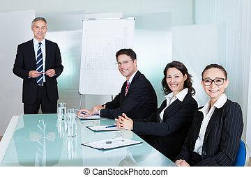 squadra affari, presa a terra, uno, riunione