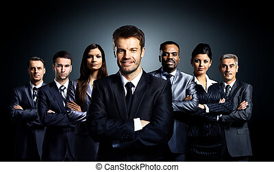 squadra affari, stare piedi, uno, scuro