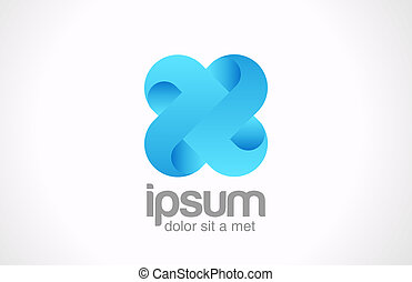 squadra, concept., logotipo, blu, cappio, cross., ciclo,...