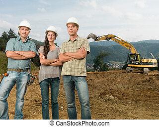 squadra, di, architetti, su, luogo costruzione